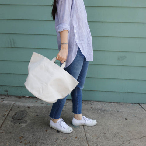 Line Tote with Navy Canvas