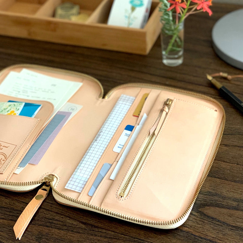 Leather Zip Organizer (A5 size) // Natural [PRE-ORDER]