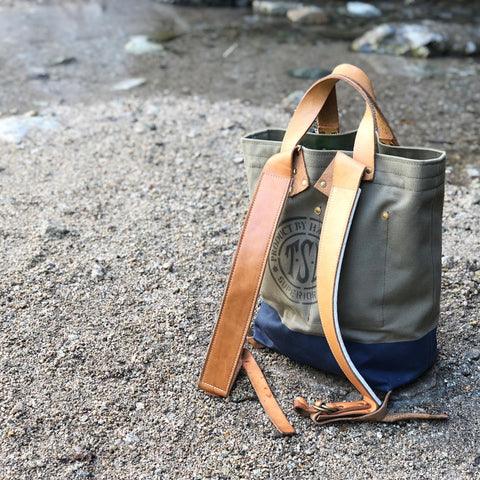 TSL 2-way Backpacker / Khaki canvas with Navy paint