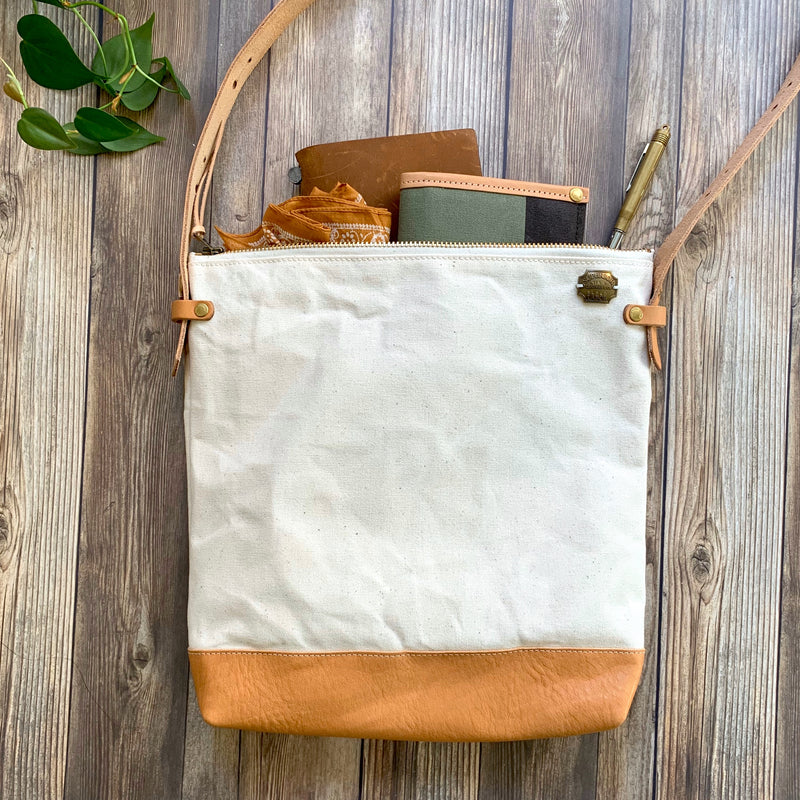 Leather Bottom Shoulder Bag // Deep Large // Natural Canvas