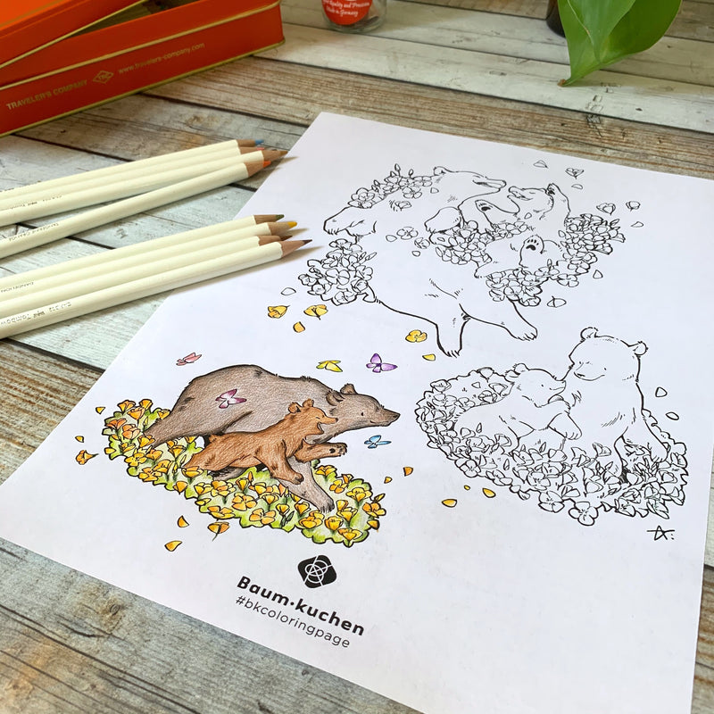 BK Coloring Page // California Poppy and Bear (PDF Download)