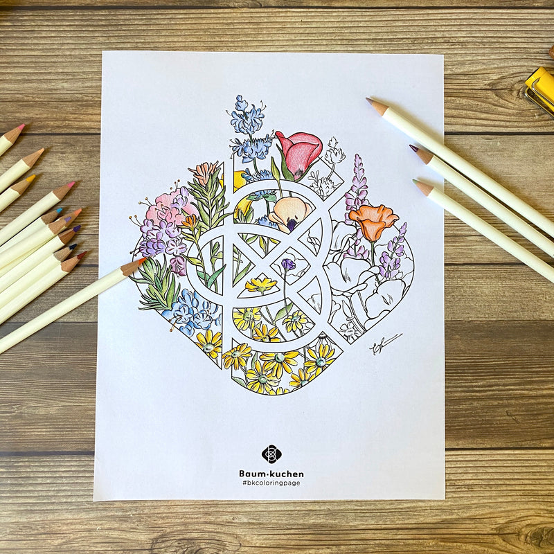 BK Coloring Page // Among the Flowers (PDF Download)