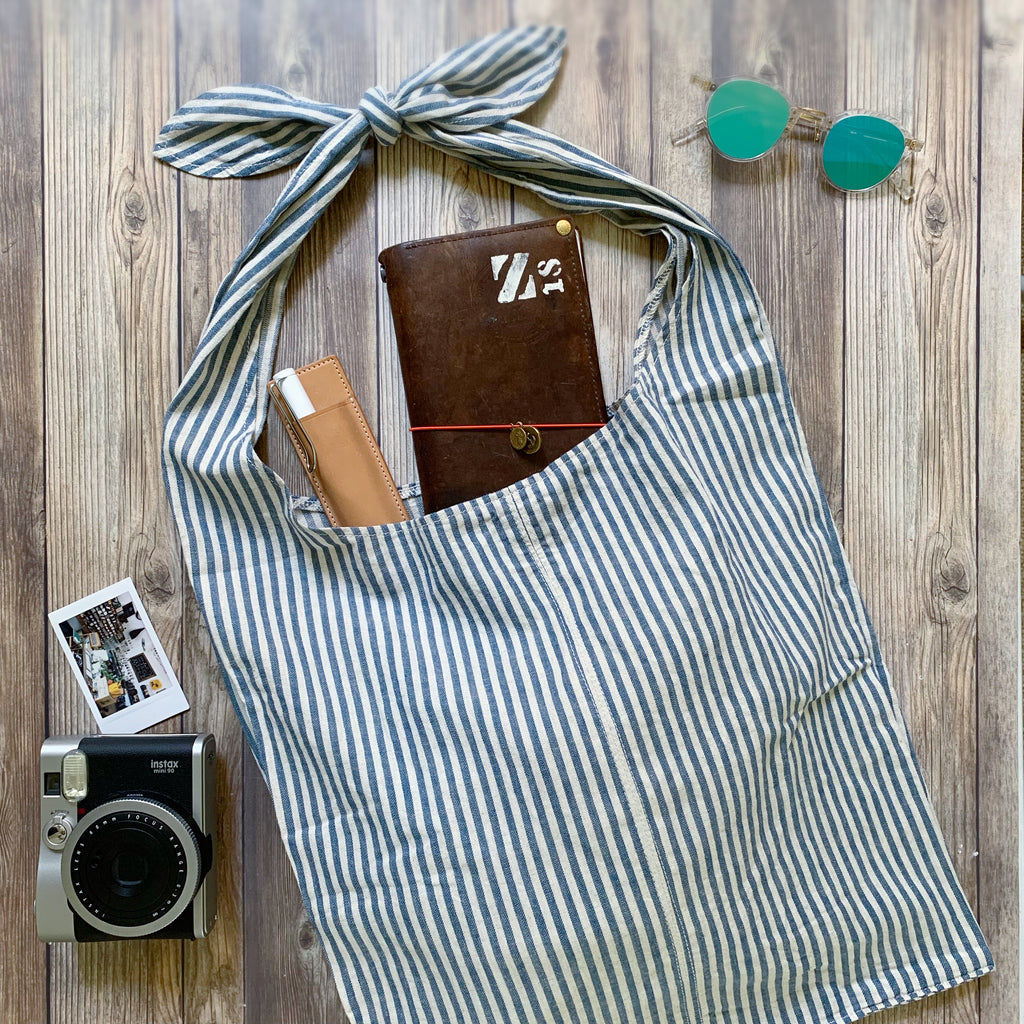 [TSLxBK] Cotton Bag PETITE // Blue Stripe