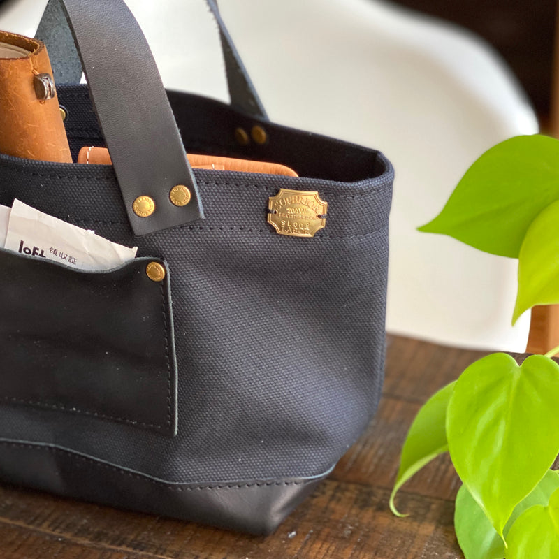Petite Tote // Black Canvas with Black Leather Bottom