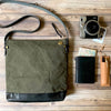 Leather Bottom Shoulder Bag Deep Large // Khaki