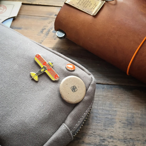 Engineer Pouch || Khaki canvas w/ yellow paint