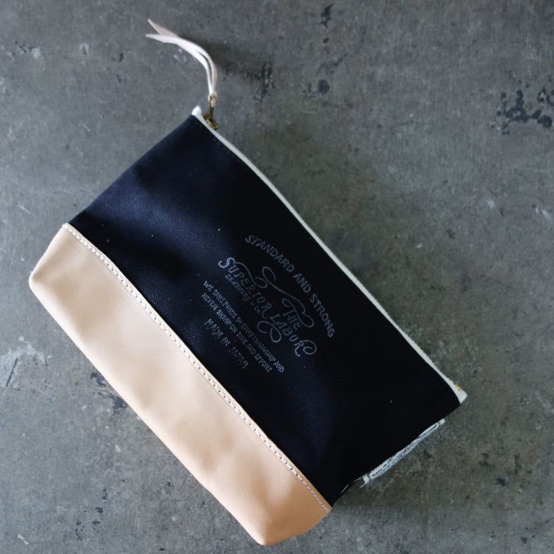 Engineer Pouch || Black canvas w/nude leather