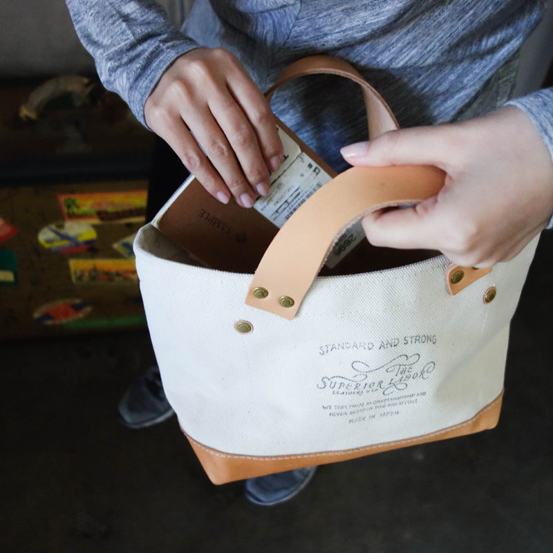 Petite Tote // Natural Canvas with Leather Bottom