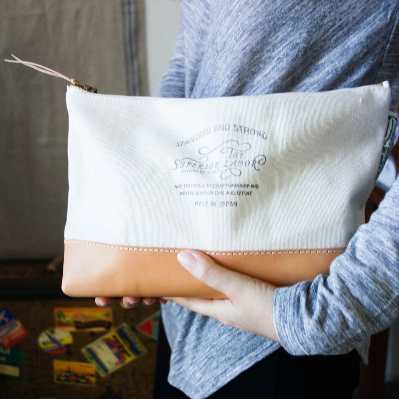 Engineer Pouch || Natural canvas w/nude leather