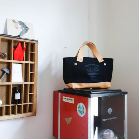 The Superior Labor Petite Tote / Black canvas with leather bottom
