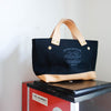 Petite Tote / Black canvas with leather bottom