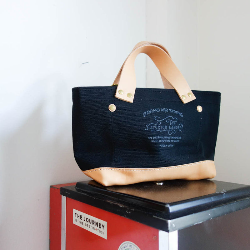 TSL Petite Tote / Black canvas with leather bottom