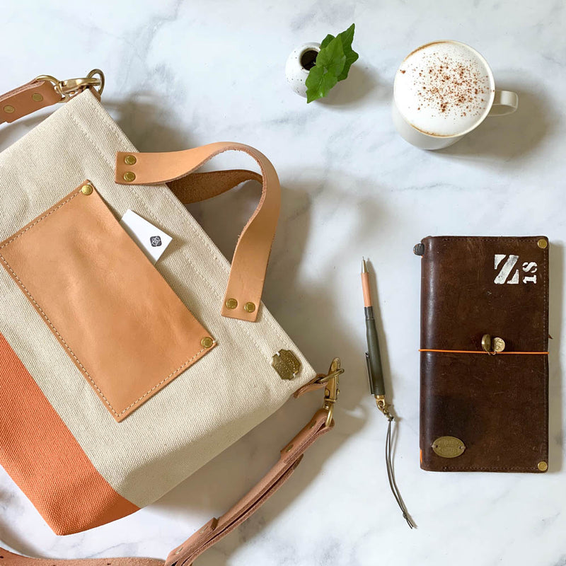 TSL Analogue Bag || Natural Canvas with Coral Paint