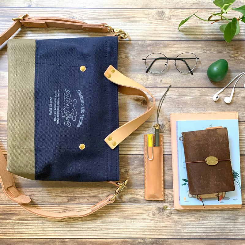TSL Analogue Bag || Navy Canvas with Olive Paint