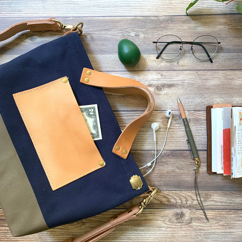 TSL Analogue Bag || Navy Canvas with Olive Paint [PRE-ORDER]