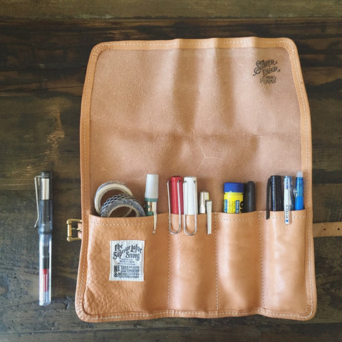 Engineer Pouch || Black canvas w/nude leather [PRE-ORDER]