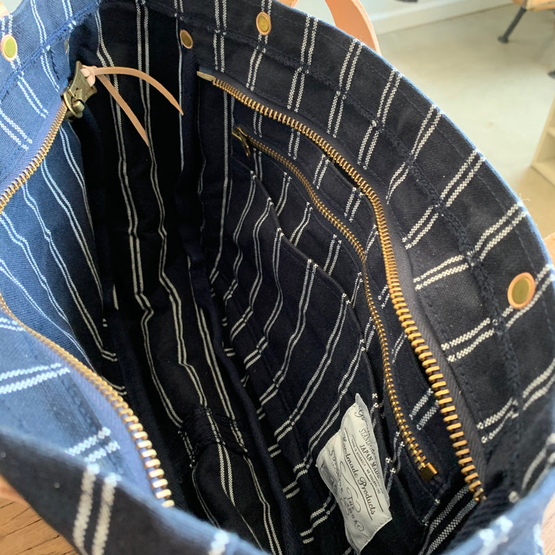 Navy Stripe Tote with Leather Pocket