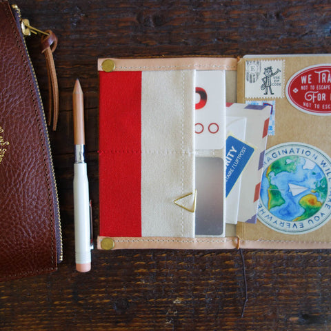 [TSLxBK] Travel for Life Wallet // Natural canvas with red