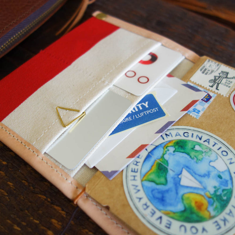 PASSPORT Travel for Life Wallet // Natural canvas with red