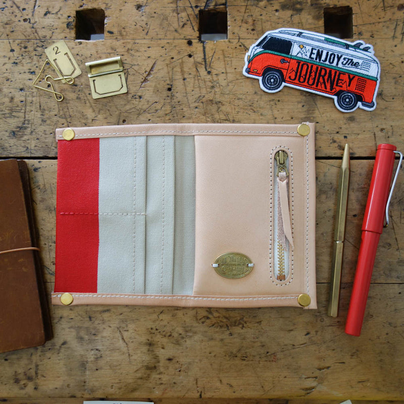 [TSLxBK] PASSPORT Travel for Life Wallet // Sand Canvas with Red