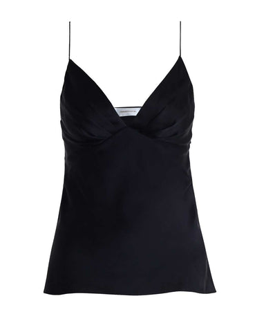 French Navy Sueded Tuck Cami