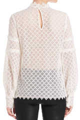 Amia Lace Blouse Iro Tops with Zig-Zag Hemline