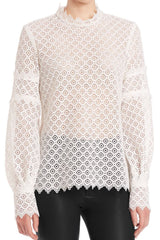Amia Lace Blouse Iro Tops with high neckline
