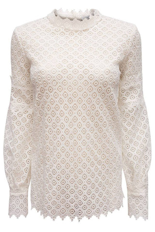 Amia Lace Blouse Iro Tops with long bishop sleeve