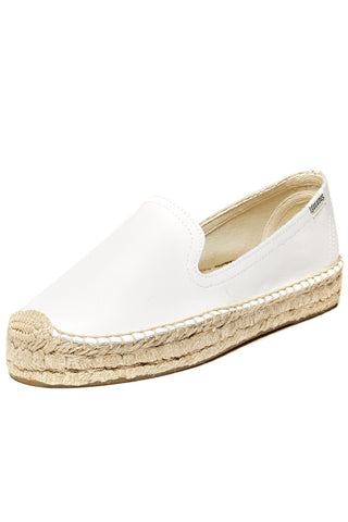 White Leather Espadrille