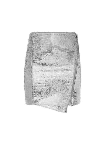 Asymmetric Micro Sequins Skirt