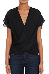 Black 100% silk L'Agence Lita Blouse with short flutter sleeve