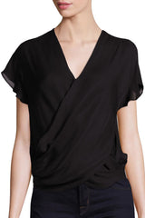 L'Agence Lita Blouse with fluid crossover blouse & back snaps