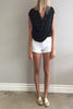 L'Agence Zoe Fray Short in stretch denim