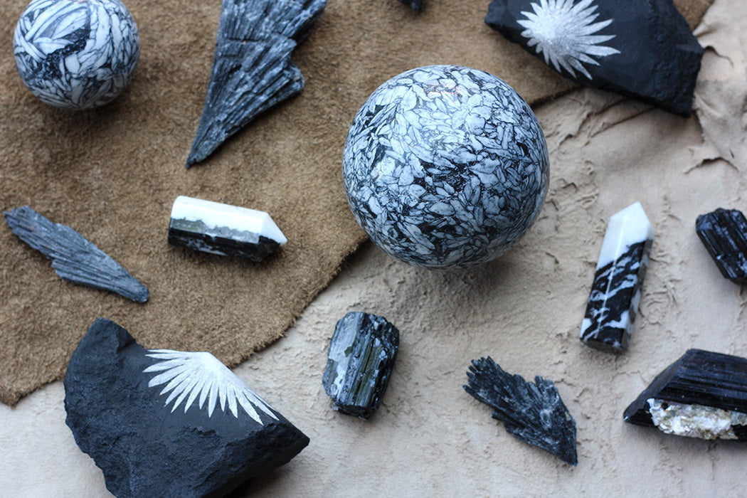 White and Black Crystals to Create Balance & Harmony