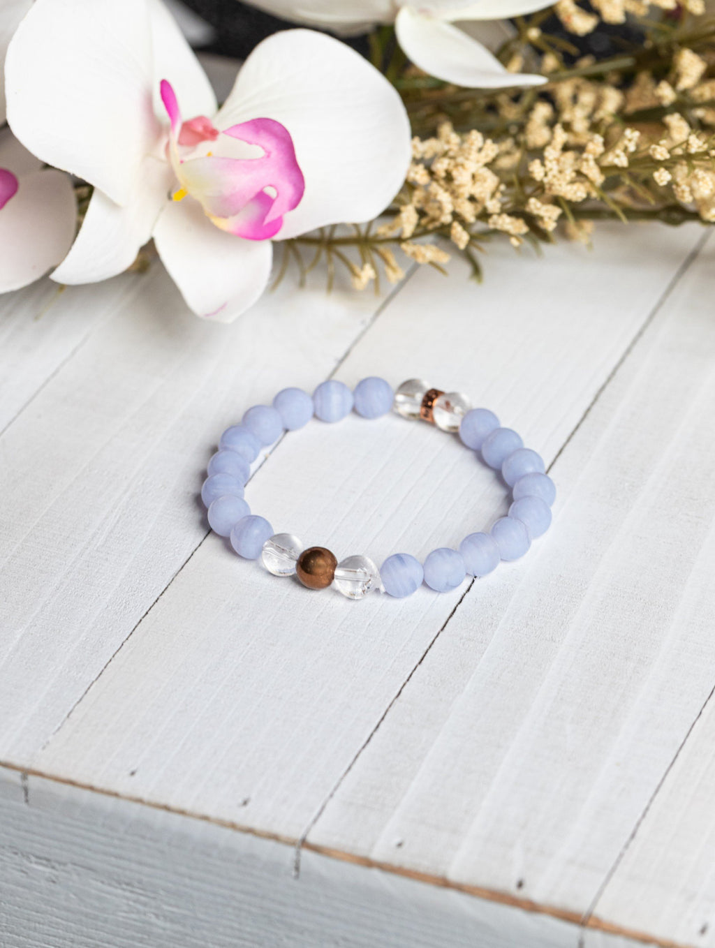 Blue Lace Agate Bracelet for Stress Release - Energy Muse
