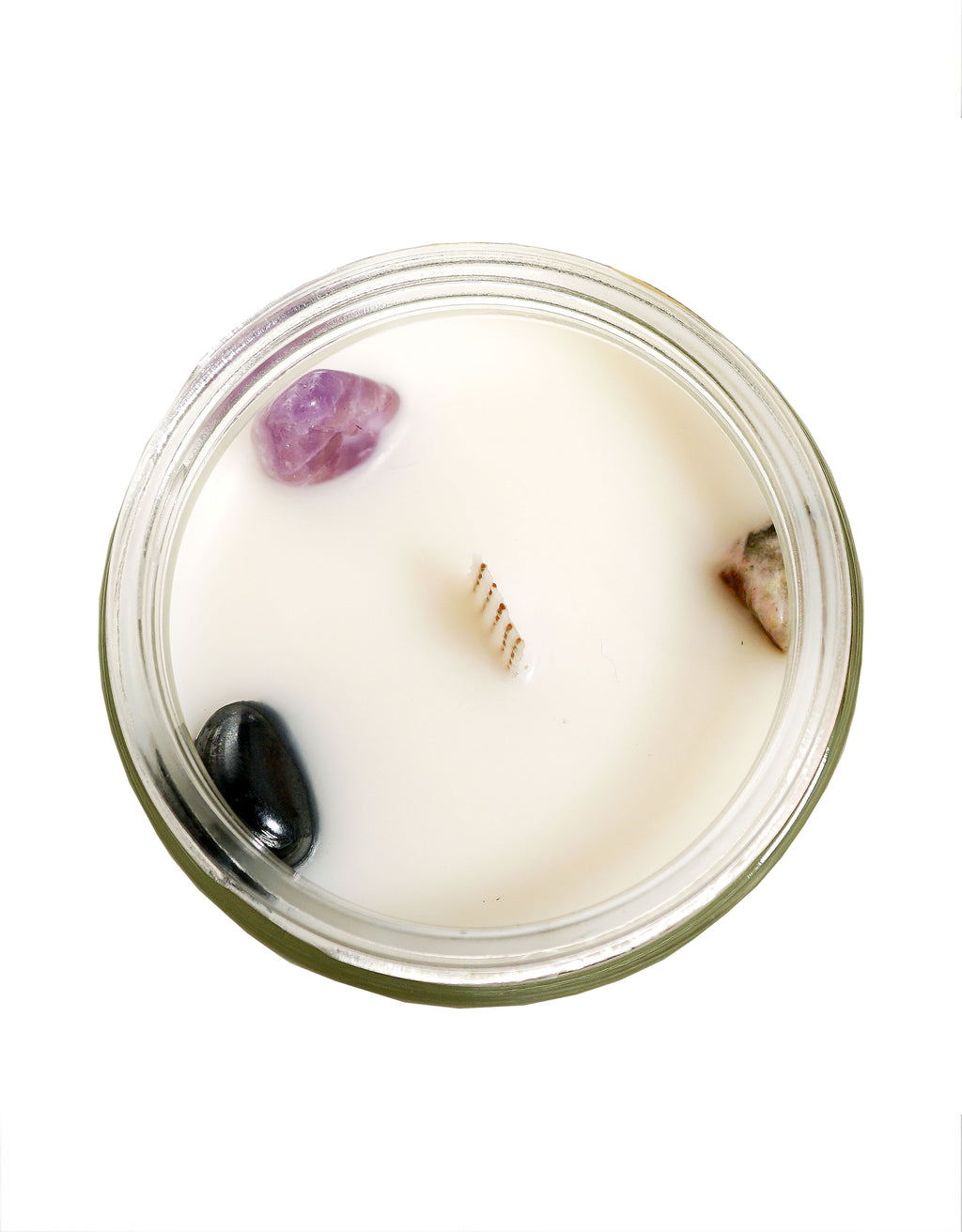 Calming Crystal Candle with Amethyst, Hematite and Ocean Jasper