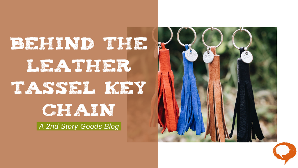 Behind the Leather Tassel Key Chain