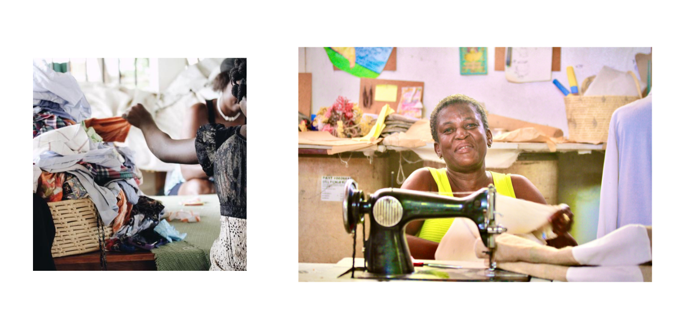 basket of fabric on left; women smiling while using a sewing machine