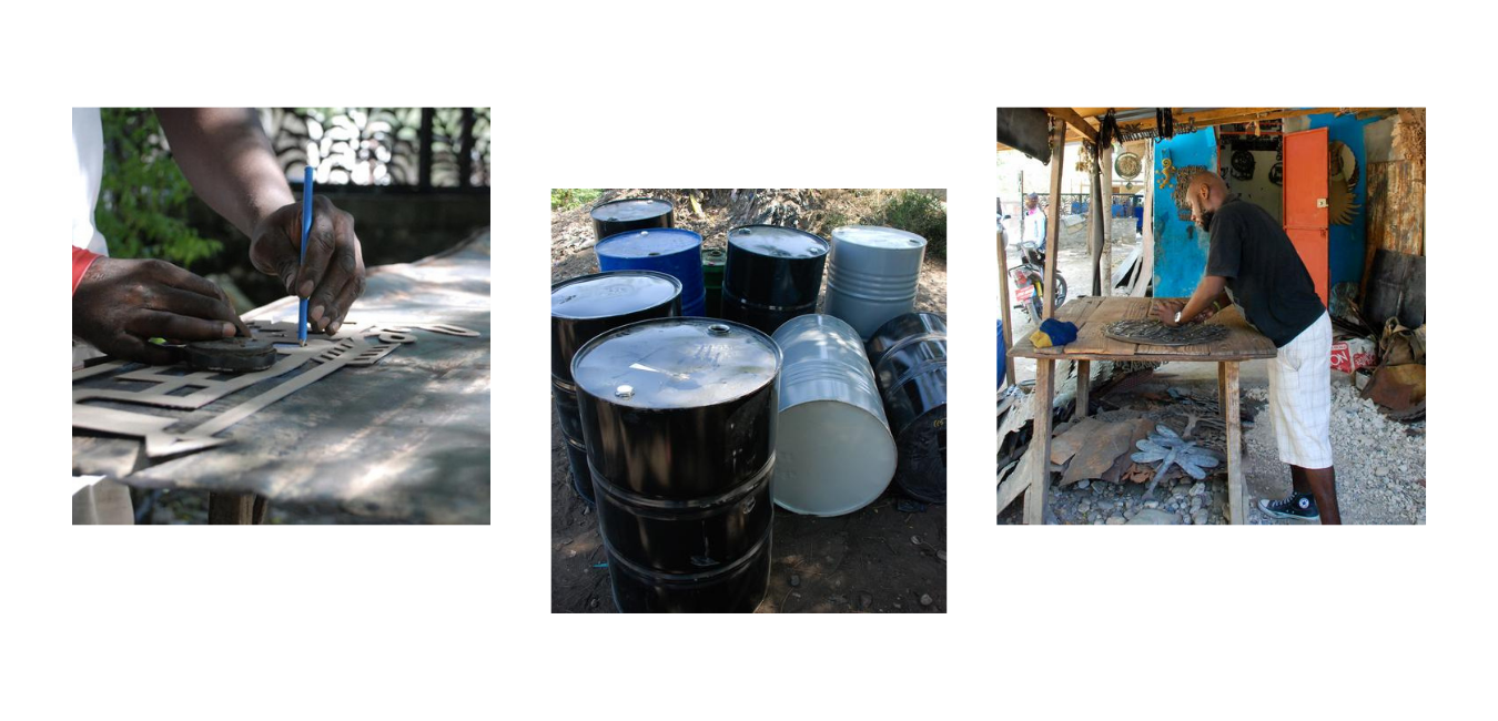 images showing various processes and materials used to create steel drum metal art