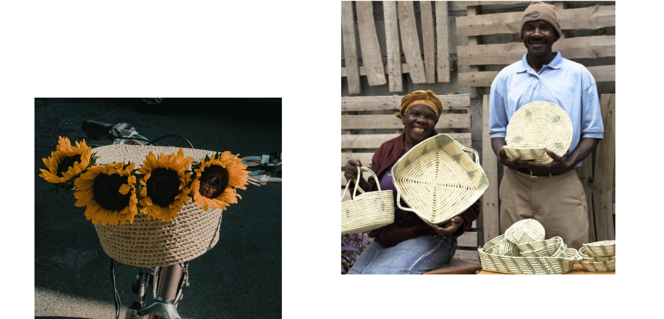bike basket with sunflowers; basket makers holding their creationss