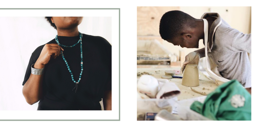 women wearing clay necklace, man working with clay