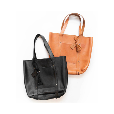 large brown and black leather totes