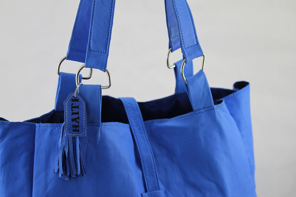 Blue Sheepskin Tote