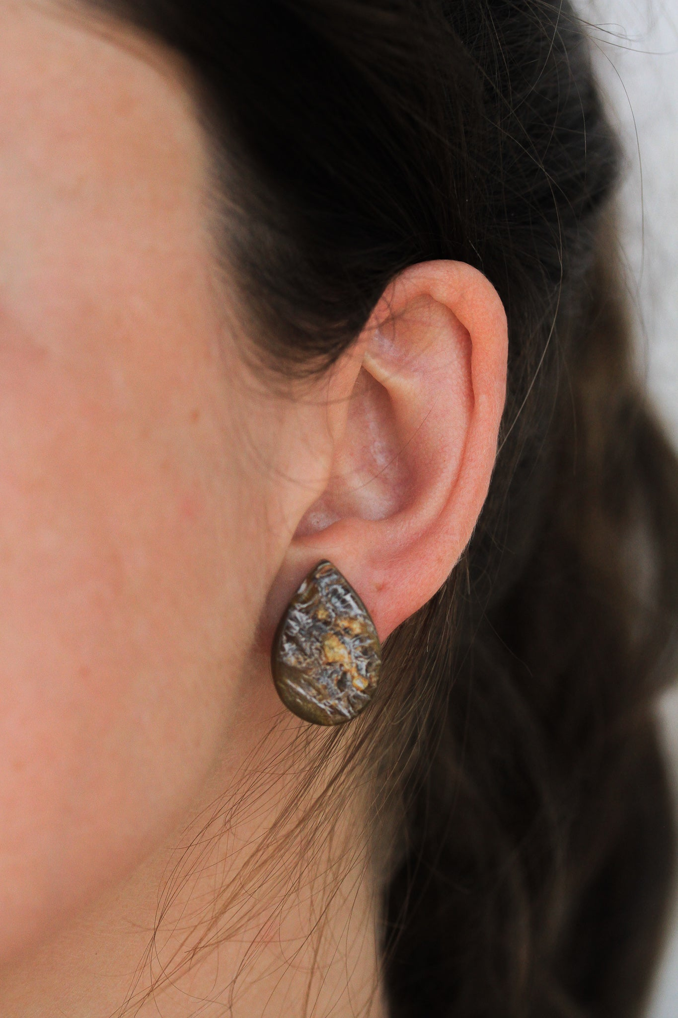 Teardrop Horn Post Earrings by Atelier Calla