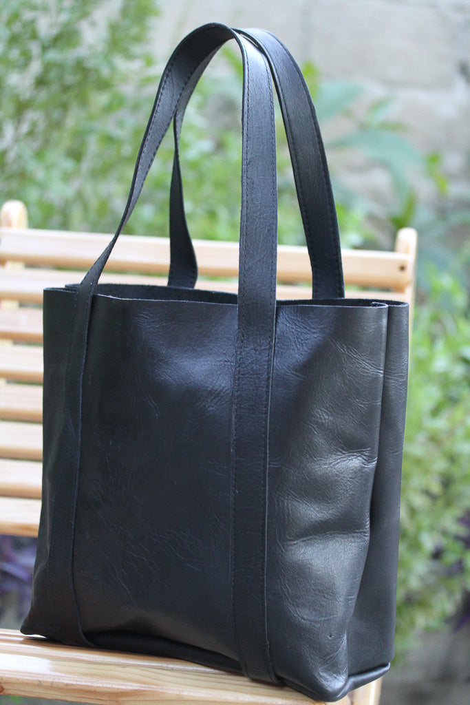 Large Raw Leather Tote