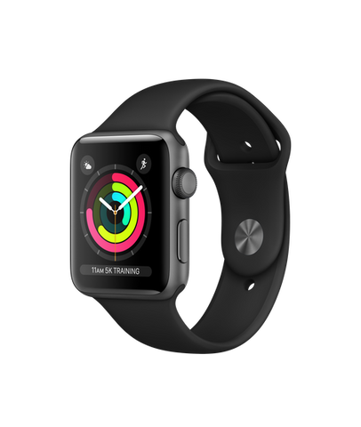 Apple Watch S3 42MM Space Gray Aluminum Case with White Sport Band