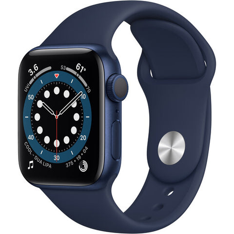 Apple Watch Series 6 (GPS, 40mm, Blue Aluminum, Deep Navy Sport Band)