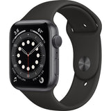 Apple Watch Series 6 (GPS, 44mm, Space Gray Aluminum, Black Sport Band) Space Gray
