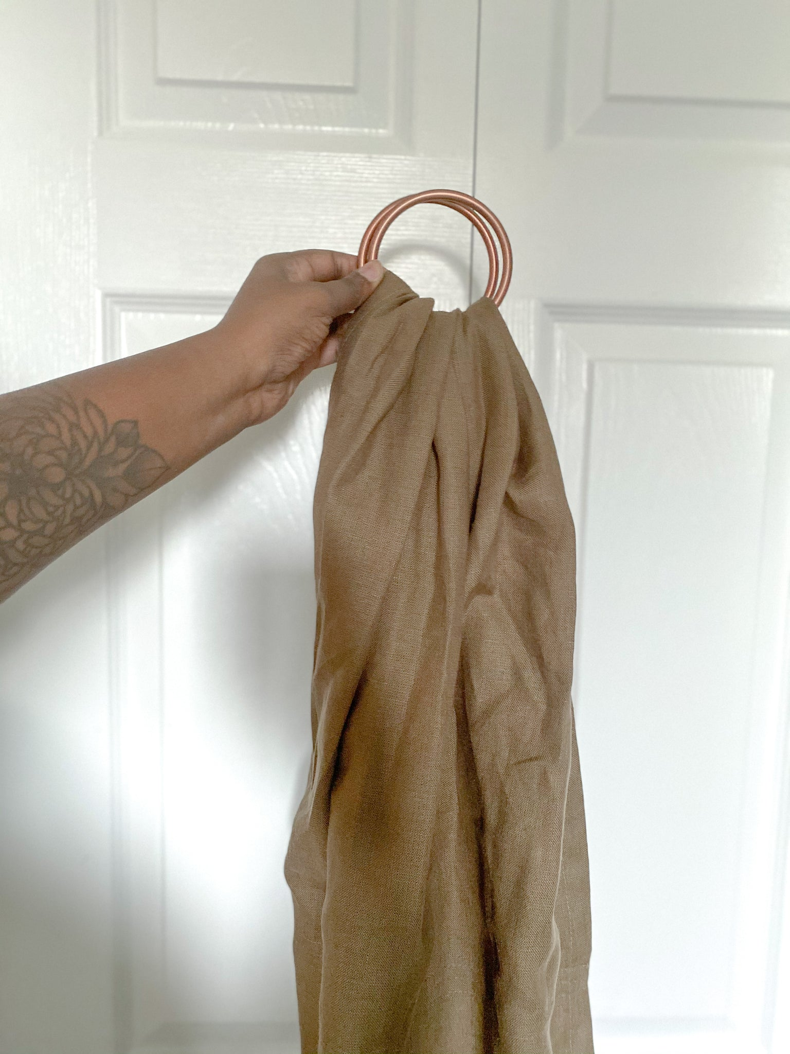 Solid deep olive linen ring sling