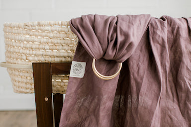 Solid mauve/purple linen ring sling